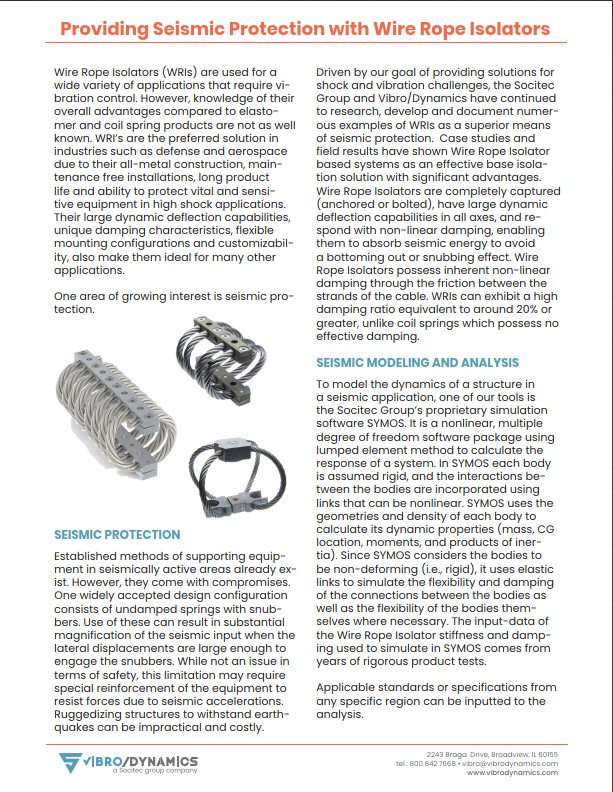 Seismic Protection with Wire Rope Isolators
